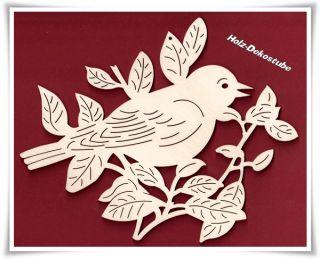 Fensterbild Wandbild Vogel im Ast natur Holzdeko Herbst