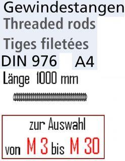 Gewindestange Edelstahl V4A DIN 976 Länge 1000 mm Gewindestangen