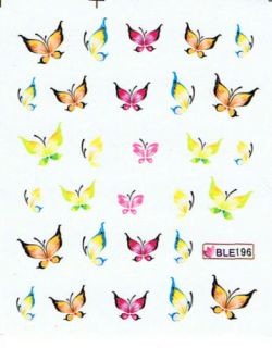 Nail Art Sticker Tattoo One Stroke BLE 196 Schmetterlin