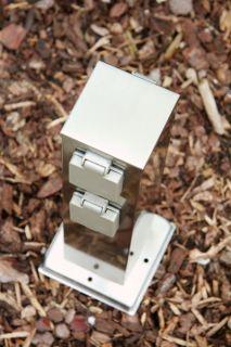 Außensteckdose aus Edelstahl mit 4 Schuko Stecker Gartensteckdose