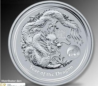 oz 999 Silber Silver Lunar II Jahr des Drache Drachen 2012 Privy