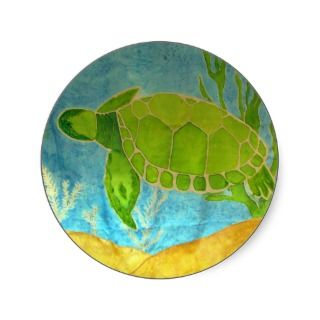 Sea Turtle Silk Painting Stickers
