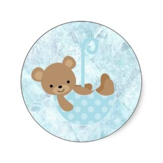 Teddy Bear Blue Baby Shower Stickers