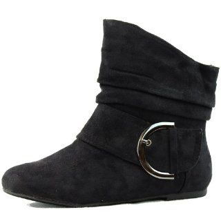 Top Moda Womens Buckle Flat Ankle High Bootie