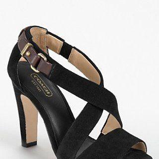 Coach Brea Open Toe Open Toe Heels Shoes Black Womens New/Display