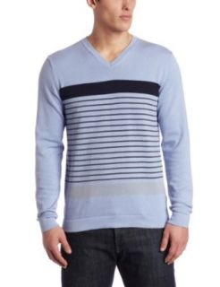 Kenneth Cole Mens V Neck Printed Stripe Sweater Clothing