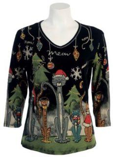 Jess and Jane Meow Christmas Dressy Rhinestone Tee Shirt