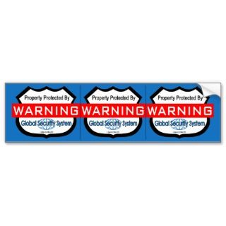 Fake Security Stickers, Window Decals  3 per Sheet Bumper Sticker