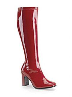 Retro 70s Disco Red Gogo Boot   12: Clothing