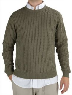 Mens Cable Knit Sweater   Cotton Crew Neck Clothing