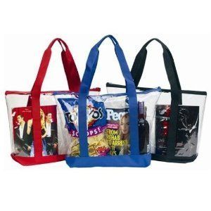 Large Clear Tote Bag with Zipper Closure (Blue) Clothing