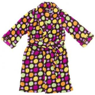 Sweet n Sassy Brown Polka Dot Plush Bath Robe for Toddlers