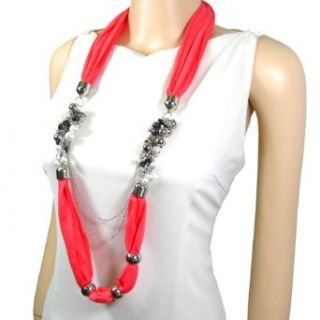 Pearlescent Bead Jewelry Scarf Long Necklace Coral