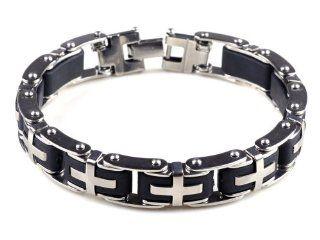 8.5 Mens Stainless Steel Bracelet Cross Black Rubber