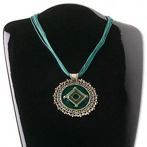 Necklace, pewter and enamel, light green and teal, 72x64mm