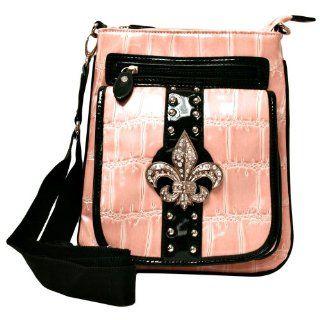 Pink Fleur Di Lis Croco Textured Shoulder Messenger Bag Shoes