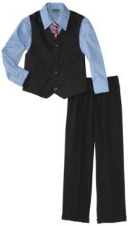 Perry Ellis Boys 2 7 Double Stripe Vest Set, Navy, 2T
