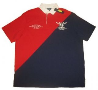 Polo Ralph Lauren Mens Navy Red Rugby Shirt M Clothing