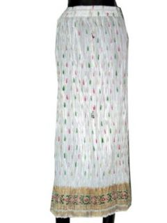 Bohemian Gypsy Crinkled Long Skirt White Red Green Block