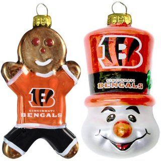 NFL Cincinnati Bengals Blown Glass Gingerbread Man & Top