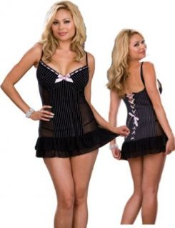Plus Size Pinstripe Babydoll Lingerie Set   Sexy Sheer