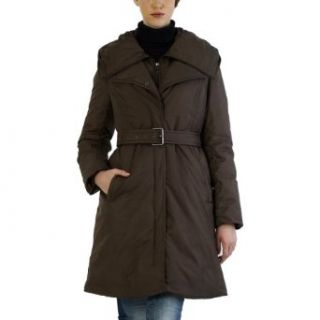Jessie G. Womens Belted Puffer coat with Removable Hooded