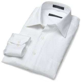 Wrinkle Free Fitted Stretch Solid Shirt, White, 15   32/33 Clothing
