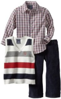 Izod Kids Boys 2 7 Striped Sweater Vest Plaid Shirt and