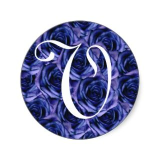 Monogram Letter V Blue Roses Sticker