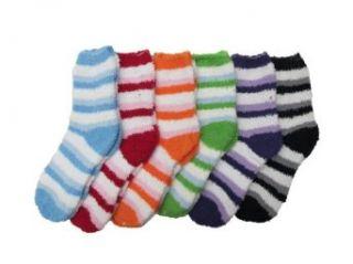 Fuzzy Socks, Warm & Soft Winter Socks Striped   12 Pairs