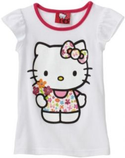Hello Kitty Girls 2 6X Flutter Sleeve Bow Tee, White, 2T