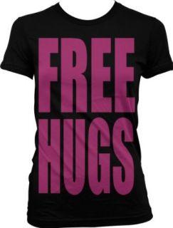 Free Hugs Neon Design Juniors T shirt, Big and Bold Funny