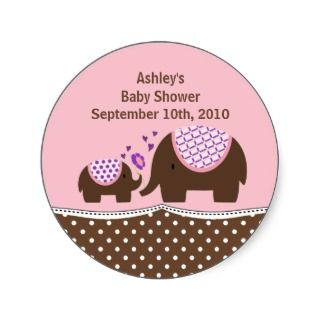 Pink & Brown Elephant Baby Shower Sticker