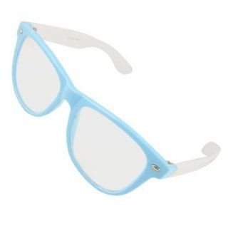Como Lady Blue Full Frame White Broad Temple Plano Glasses