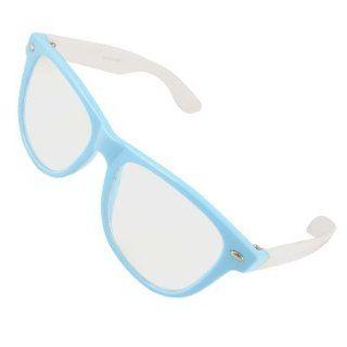 Como Lady Blue Full Frame White Broad Temple Plano Glasses