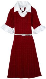 Bonnie Jean Girls Cable Knit Sweater Dress, Red, 16