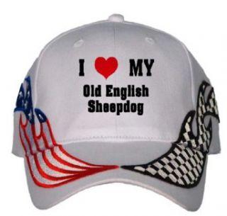 I Love/Heart Old English Sheepdog USA Flag / Checker