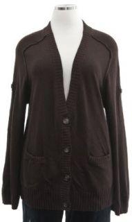 Michael Kors Chocolate Brown Deep V Cardigan Sweater 1X