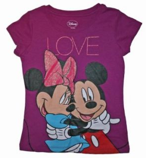 Mickey & Minnie Mouse Girls Graphic T Shirt (6/6x, Violet