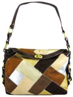 Brown Suede Patchwork Handbag Purse Brass Accents