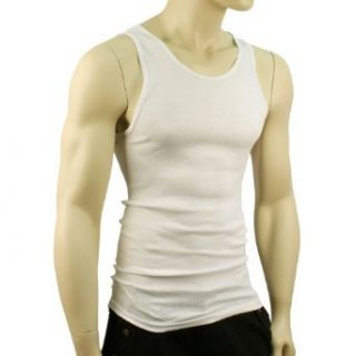 Ribbed Tank Top Under Shirt Crew Neck White 46 48 Chest XL Clothing