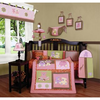 Pink Teddy Bear 13 piece Crib Bedding Set