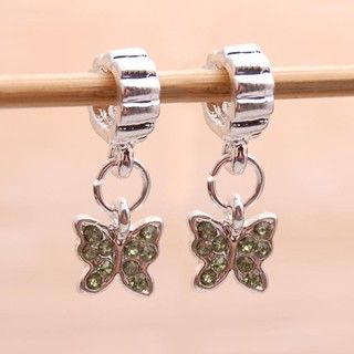 Bleek2Sheek Silvertone Green Rhinestone Butterfly Charm Beads (Set of