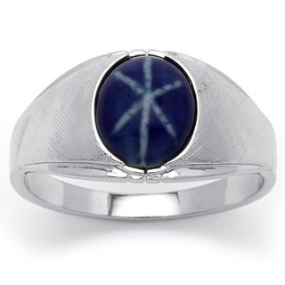 Neno Buscotti Mens Simulated Blue Ring in Silvertone Metal