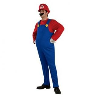 Mens Plus Size Deluxe Super Mario Brothers Costume 46 52 Clothing