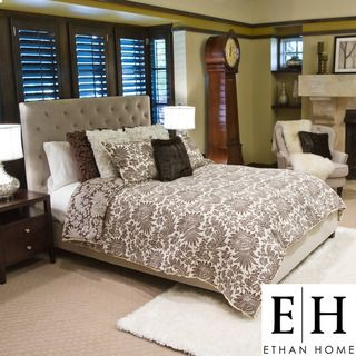 ETHAN HOME Sophie Tufted Taupe Velvet Queen size Platform Bed