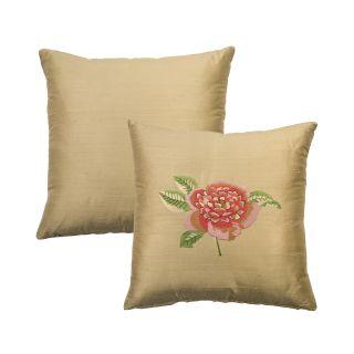 Rose Tree Crimson Garden Embroidered Flower Decorative Pillow Today: $