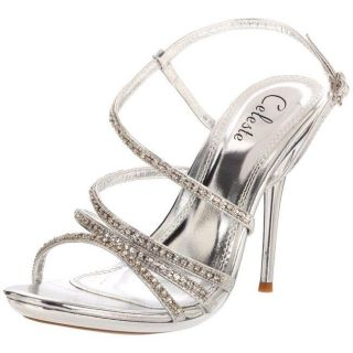 Celeste Womens Hana 13 Silver Rhinestone Sandals