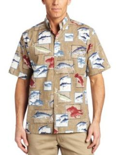 Reyn Spooner Mens Pihi Luau Shirt, Khaki, Small Clothing