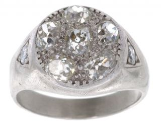 14 kt. White Gold & Old Mine Cut 3 ct Diamond Ring